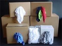 Recycled White T-Shirt Rags, 50LB Box